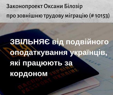 Законопроект звільняє від подвійного оподаткування українців, які працюють за кордоном  – Оксана Білозір
