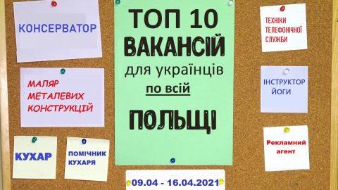 10 найцікавіших вакансій для Українців по всій Польщі за тиждень 09.04 – 16.04.2021