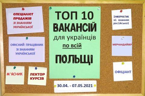 10 найцікавіших вакансій для Українців по всій Польщі за тиждень 30.04 – 07.05.2021