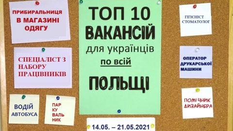 10 найцікавіших вакансій для Українців по всій Польщі за тиждень 14.05. – 21.05.2021