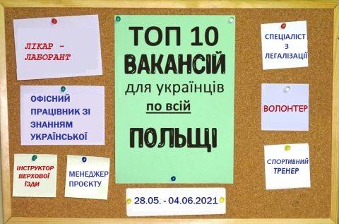10 найцікавіших вакансій для Українців по всій Польщі за тиждень 28.05. – 04.06.2021