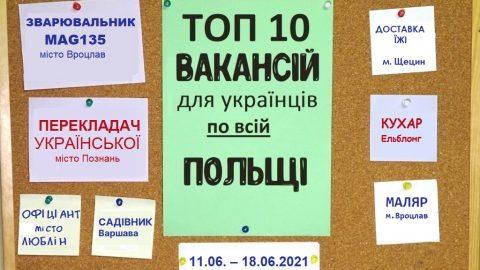 10 найцікавіших вакансій для Українців по всій Польщі за тиждень 11.06. – 18.06.2021