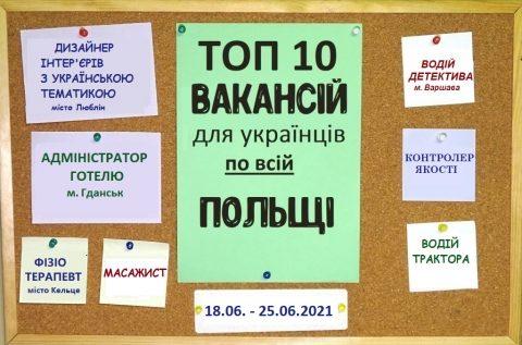 10 найцікавіших вакансій для Українців по всій Польщі за тиждень 18.06. – 25.06.2021