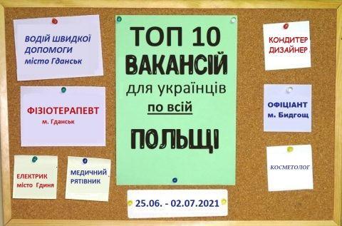 10 найцікавіших вакансій для Українців по всій Польщі за тиждень 25.06. – 02.07.2021