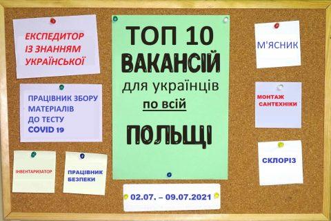 10 найцікавіших вакансій для Українців по всій Польщі за тиждень 02.07. – 09.07.2021