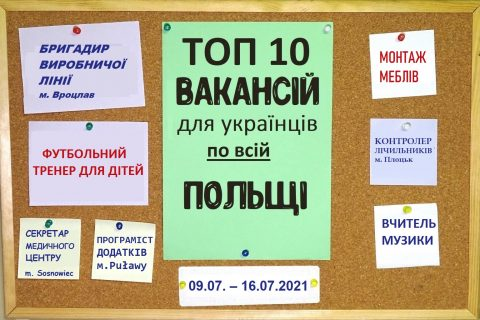10 найцікавіших вакансій для Українців по всій Польщі за тиждень 09.07. – 16.07.2021